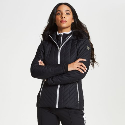 Women's Icebloom Faux Fur Trim Luxe Ski Jacket Black